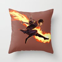 zuko Throw Pillows featuring Fight Fire With Fire by Junryou