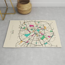 Colorful City Maps: Rome, Italy Rug