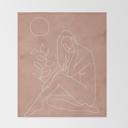 Engraved Nude Line I Throw Blanket
