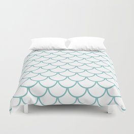 Chalky Blue Fish Scales Pattern Duvet Cover