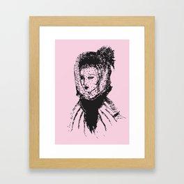 Veiled Lady on Pink Framed Art Print