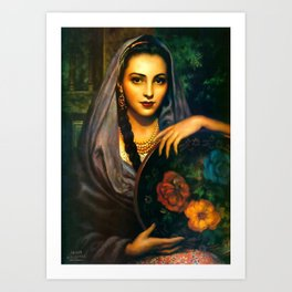 Jesus Helguera Painting of a Calendar Girl with Dark Shawl Art Print