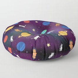 """""""Cats from outer space!"""" Galaxy Print Floor Pillow"""