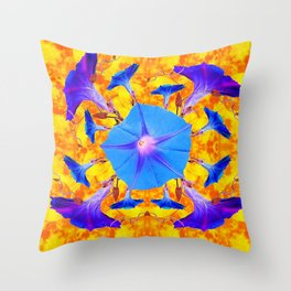 Baby Blue & Purple Morning Glories Art Throw Pillow