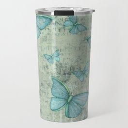 Teal Butterflies Travel Mug