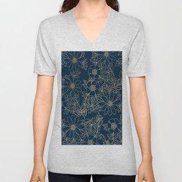 Chic navy blue modern elegant gold floral Unisex V-Neck