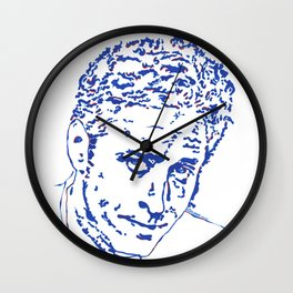 Jon Stewart in Blue Lines and Shapes Wall Clock