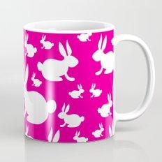 Bunny Pattern Pink and White Coffee Mug