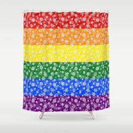 Christmas Pride Bright Festive Rainbow Snowflakes Shower Curtain