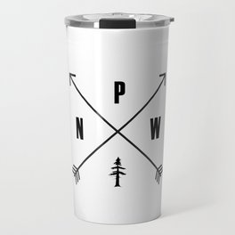 PNW Pacific Northwest Compass - Black and White Forest Travel Mug