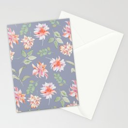 Blue Moody Florals Stationery Cards