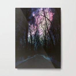 Auroras in the Woods Metal Print
