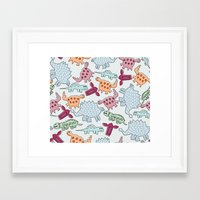 dinosaurs Framed Art Prints featuring Dinosaurs  by MadexDesigns