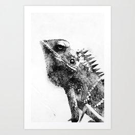Watercolor Chameleon Black&White Art Print
