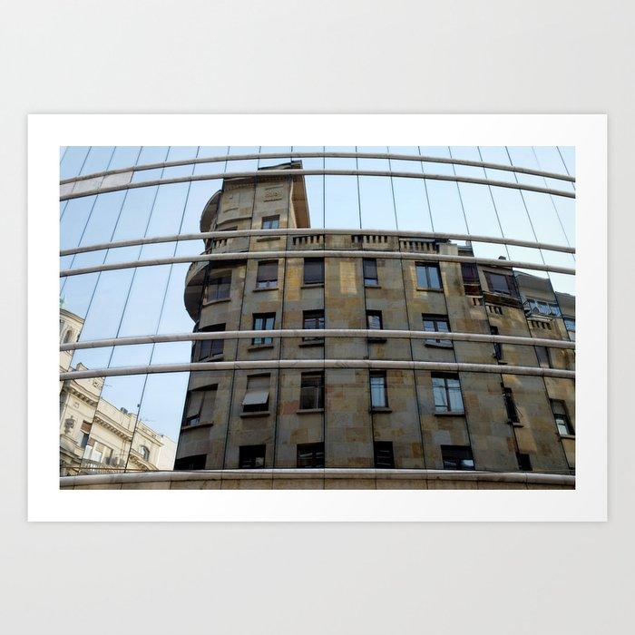 Belgrade / Reflections of Buildings on Buildings Art Print