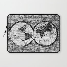 world map black and white Laptop Sleeve