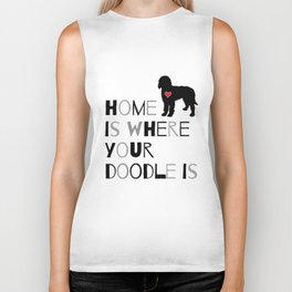 Home is where your Doodle is, (black & gray) Art for the Labradoodle or Goldendoodle dog lover Biker Tank