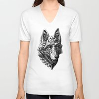 german shepherd V-neck T-shirts featuring German Shepherd by BIOWORKZ