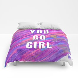 You Go Girl Empowerment Rainbow Abstract Background Comforters