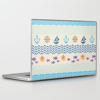 knitting Laptop & iPad Skins featuring Sea Knitting by Ornaart