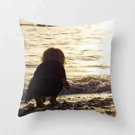 Baby Girl in the Gulf Throw Pillow