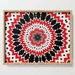 Bizarre Red Black and White Pattern Serving Tray