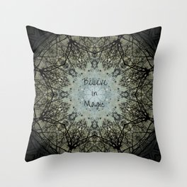 Mandala tree art, believe in magic, bare branches witch witchy wiccan inspirational sacred geometry Throw Pillow