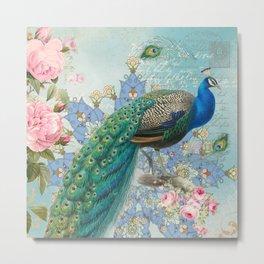 Peacock & Pink Roses #2 Metal Print