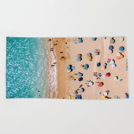 People On Algarve Beach In Portugal, Drone Photography, Aerial Photo, Ocean Wall Art Print Beach Towel
