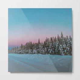 winter dusk drive Metal Print
