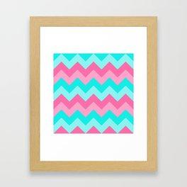 Hot Pink Turquoise Aqua Blue Chevron Zigzag Pattern Print Framed Art Print