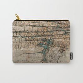 Rustic Wood Ages Gracefully - Beautiful Weathered Wooden Plank - knotty wood turquoise paint Carry-All Pouch