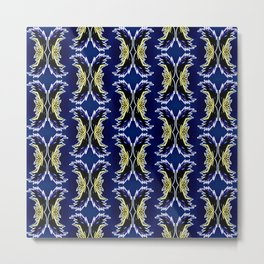 Yellow Darkblue Ornament  Baroque Damask Pattern Metal Print