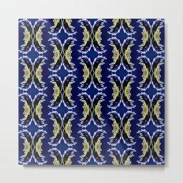 Yellow Darkblue Ornament  Baroque Damask Pattern Metal Print