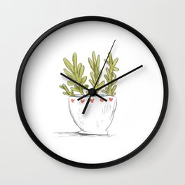 Succulent in Heart Planter Wall Clock