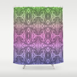 Colorful Gradient Floral Doodle Pattern 2 Shower Curtain