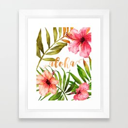 Aloha Watercolor Tropical Hawaiian leaves and flowers Framed Art Print