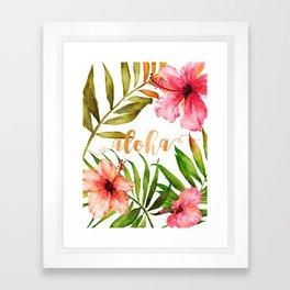 Aloha Watercolor Tropical Hawaiian leaves and flowers Framed Art Print