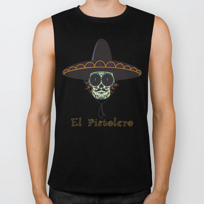 El Pistolero.Mexican sugar skull Biker Tank