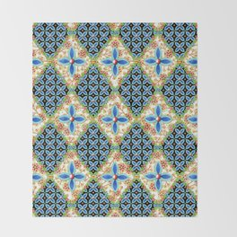 Elizabethan Folkloric Blossoms Throw Blanket
