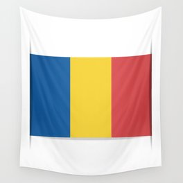 Flag of Chad, officially the Republic of Chad.  The slit in the paper with shadows. Wall Tapestry
