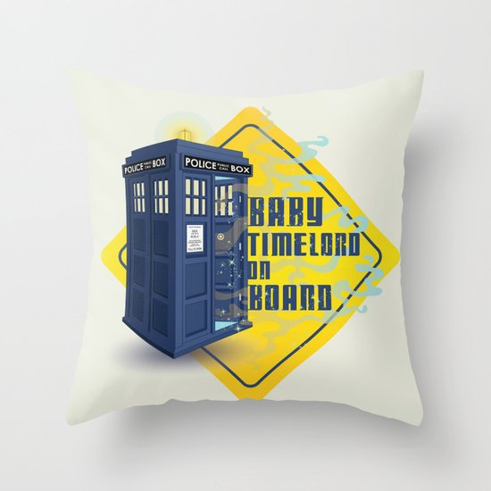 Doctor Who Tardis - Baby Timelord on Board Throw Pillow