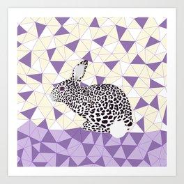 Cute Purple Pastel Rabbit Leopard Pattern Design Art Print