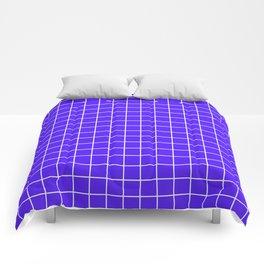 Han purple - blue color - White Lines Grid Pattern Comforters