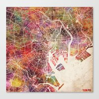 tokyo Canvas Prints featuring Tokyo by MapMapMaps.Watercolors