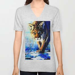 portrait of a creepin' cougar, in orange and blue Unisex V-Neck