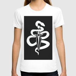 Snake & Dagger White on Black T-shirt