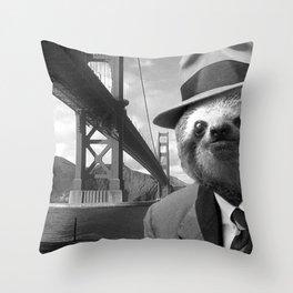 Sloth in San Francisco Throw Pillow