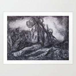 """Unknown Liberty"" - original abstract charcoal drawing Art Print"