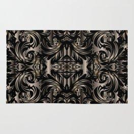 Black Gold Baroque Floral Pattern Rug